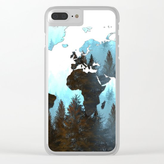 world map forest Clear iPhone Case