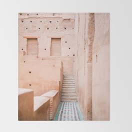 Colors of Marrakech Morocco - El badi palace photo print | Pastel travel photography art Throw Blanket