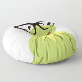 Hipster Kermit - the Optimistic Frog Floor Pillow