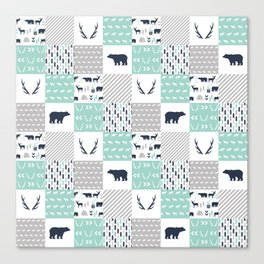 Camper antlers bears pattern minimal nursery basic navy mint white camping cabin chalet decor Canvas Print