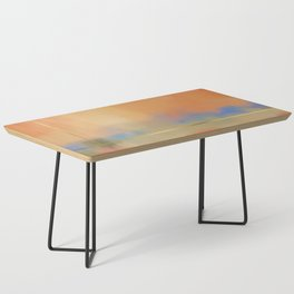 Abstract Landscape With Golden Lines Painting Coffee Table