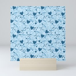 I love you typography sign seamless pattern blue Mini Art Print