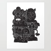 monsters Art Prints featuring MONSTERS by Matthew Taylor Wilson
