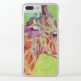 Giraffe with little friend Clear iPhone Case