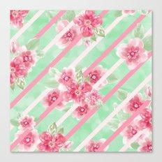 Summer Blossoms Diagonal Stripes Canvas Print