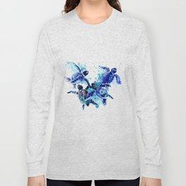 Sea Turtles, Marine Blue underwater Scene artwork Long Sleeve T-shirt