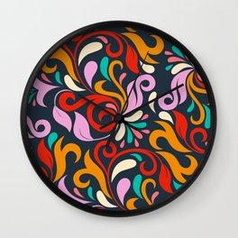 Damask floral pattern Wall Clock
