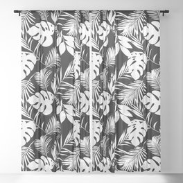 Tropical Monstera And Palm Leaves Black N White Sheer Curtain