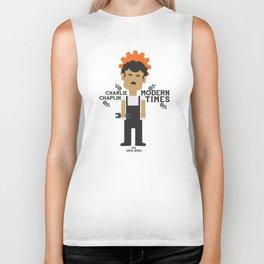 Modern Times, Charlie Chaplin, minimal movie poster, classic film, Charlot playbill Biker Tank