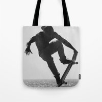 skateboard Tote Bags featuring Skateboard Freedom by Scotty Photography