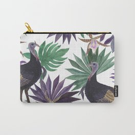 wild turkey and tropical leaves Carry-All Pouch