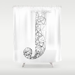 ''Geometry Collection'' - Minimal Letter J Print Shower Curtain