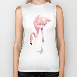 Flamingo Watercolor Painting Pink Tropical Birds Facing Left Biker Tank