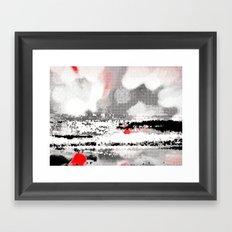 Abstract Seascape - Black, White, Red Framed Art Print