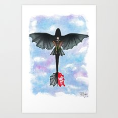 Hiccup and Toothless Flying from How to Train your Dragon 2 Art Print