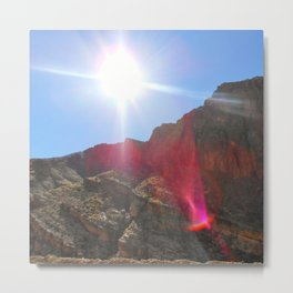 Lens Flare Over The Mountain Metal Print