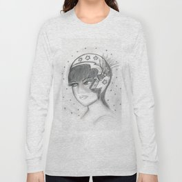 Starry Flapper in Black and White Long Sleeve T-shirt