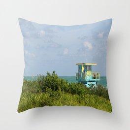 Lifegard Station At South Beach Miami Throw Pillow