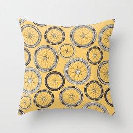 bike wheels butter Throw Pillow