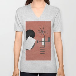 "A simple ""Miró"" on a red background - minimal composition Unisex V-Neck"