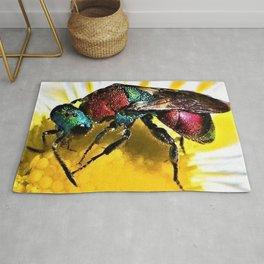 Multi-colored Cuckoo Wasp Portrait #1 Rug