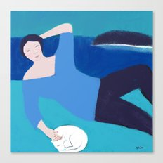 Lady with White Cat Canvas Print