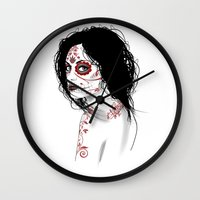 day of the dead Wall Clocks featuring Day Of The Dead by Mr Wetpaint