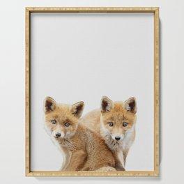 Twin baby fox art, twin kid fox Animal art, fox nursery art, woodland animals Serving Tray