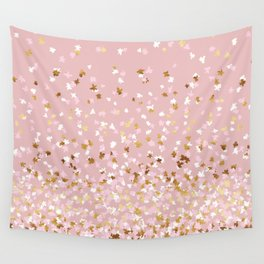 Floating Confetti - Pink Blush and Gold Wall Tapestry