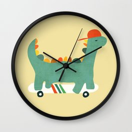 Dinosaur on retro skateboard Wall Clock