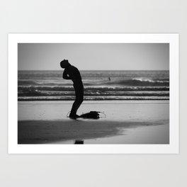 Stretching Surfer Art Print