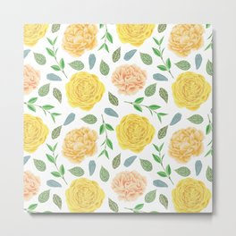 Hand painted yellow coral watercolor modern floral Metal Print