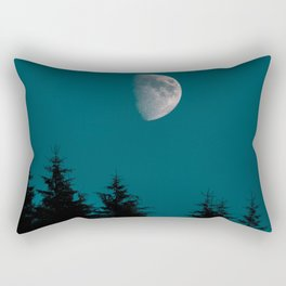 Gibbous Moon Over Pine Tree Silhouette Blue Sky Nature At Night Rectangular Pillow