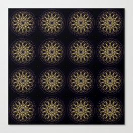 16 mandalas pattern, gold and black geometric figures, stylish symetric design for home and decor Canvas Print