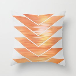 NL 2 Coral Sunset Chevron on Gray Throw Pillow