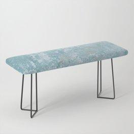 Galvanized Vintage Metal Blue Bench