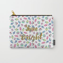 "Cute ""Shine Bright"" watercolor crystals pattern Carry-All Pouch"
