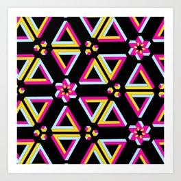 Vibrant Penrose Triangle Pattern Art Print
