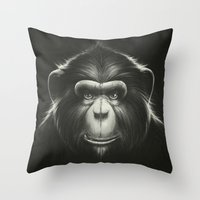 tooth Throw Pillows featuring Monkee with Tooth by Dr. Lukas Brezak