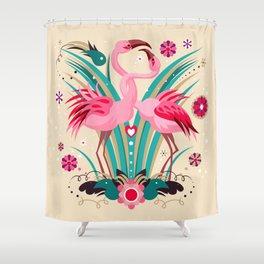 Flamingo in LOVE Shower Curtain
