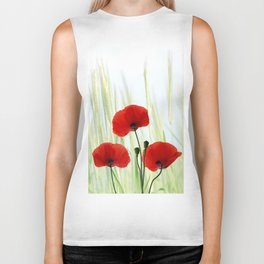 Poppies red 008 Biker Tank