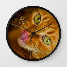 Cat licks its nose Wall Clock