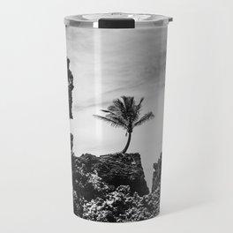 Coconut tree on the rocks, Tambaba beach, Conde PB Brazil Travel Mug