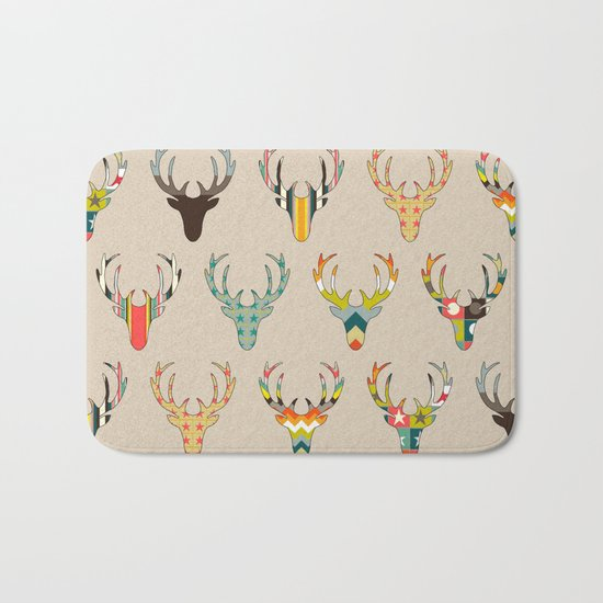 retro deer head on linen Bath Mat