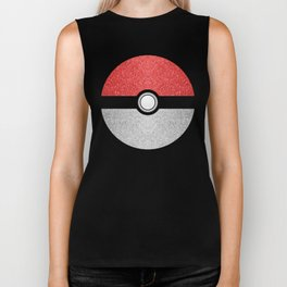 Sparkly red and silver sparkles poke ball Biker Tank