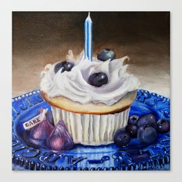 Celebration In Blue Cupcake Painting Canvas Print