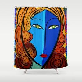 Blue Girl série portrait pop and fauve art Shower Curtain