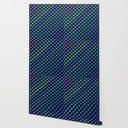 Blue geometric pattern with black background Wallpaper