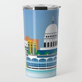 Madison, Wisconsin - Skyline Illustration by Loose Petals Travel Mug