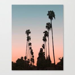 California Sunset // Palm Tree Silhouette Street View Orange and Blue Color Sky Beach Photography Canvas Print